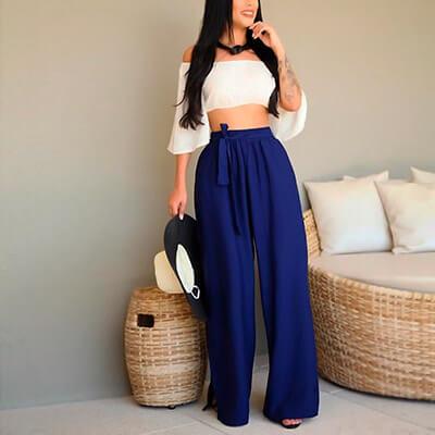 Calça Pantalona Feminina em Viscose | Maricota