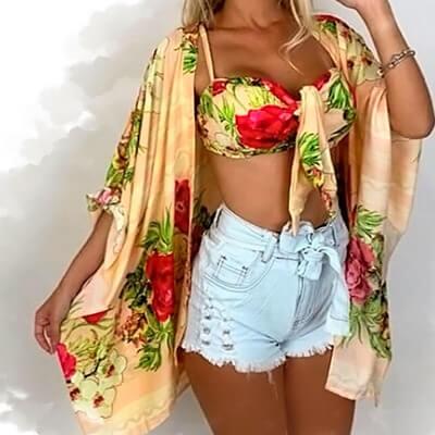 Conjunto Kimono e Top Cropped Floral | Maricota