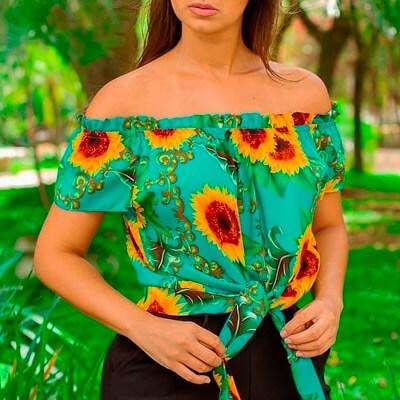 Cropped Ciganinha com Estampa de Girassol | Atual Moda Fashion
