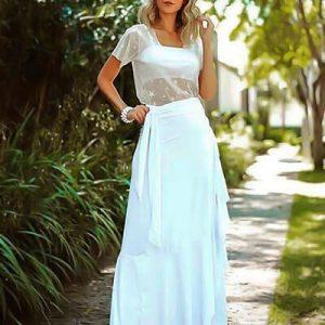 Saia Longa Transpassada Branca | Suave Encanto