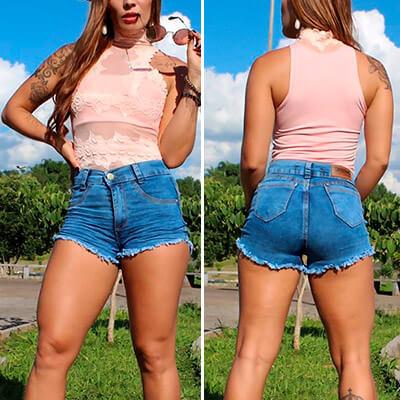 Short Jeans Feminino com Destroyed | Fuego Brasil