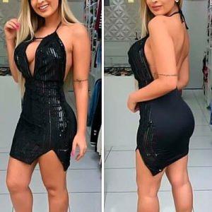 Vestido Decotado em Paetê com Suplex | Madame Sá Boutique