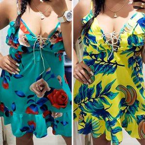 Vestido Floral Decote V com Cadarço   Leka Carvalho
