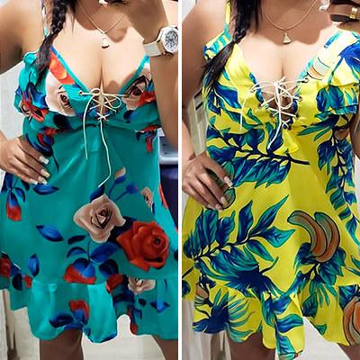Vestido Floral Decote V com Cadarço | Leka Carvalho