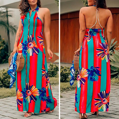 Vestido Longo Floral com Listras | Leka Carvalho
