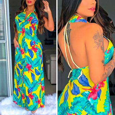 Vestido Longo Floral em Viscose com Abertura | Leka Carvalho