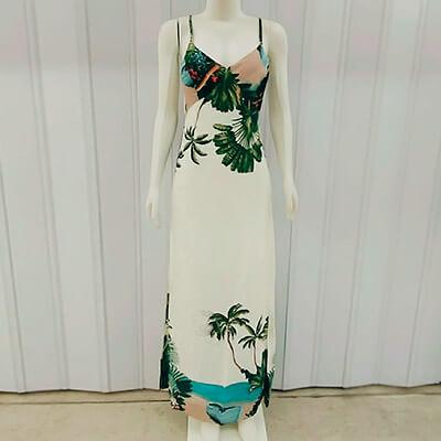Vestido Longo Floral em Viscose | JM Modas