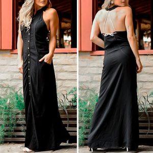 Vestido Longo com Abertura em Tecido Viscose | Leka Carvalho
