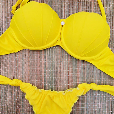 Biquíni Top Concha Sereia Amarelo | Acquarela Moda Praia