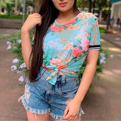 Blusa de Tule Floral | QBonita