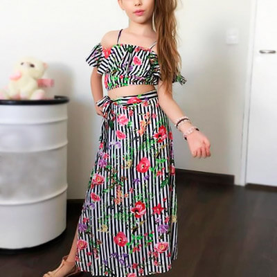 Conjunto Infantil Cropped e Saia Floral | Lili Baby
