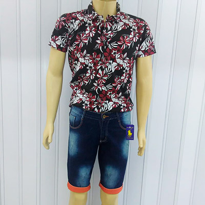 Conjunto de Blusa Floral e Short Jeans Masculino | JM Modas