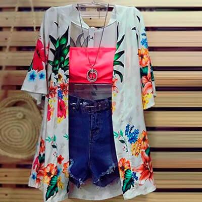 Kimono Feminino Estampa Tropical | Byanca Diniz