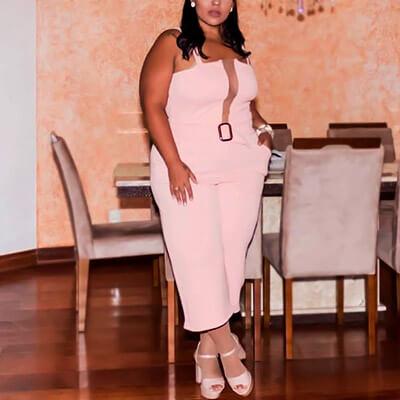 Macacão Pantacourt Plus Size Rosa | Boutique Pimenta Espaço Plus Size