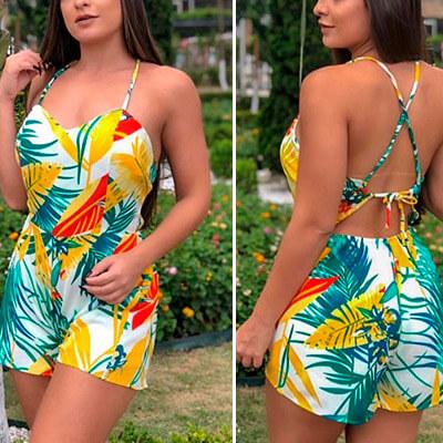 Macaquinho Feminino Estampa Tropical | Closet da Cecii