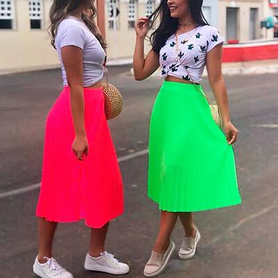Saia Midi Plissada Neon | Leka Carvalho