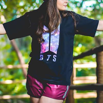 T-Shirt Preta com Estampa | Forever Teen