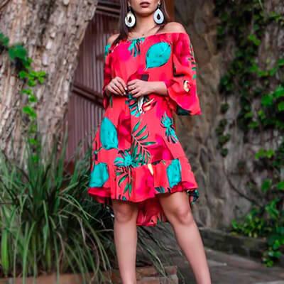 Vestido Ciganinha em Viscose Floral | Janalook