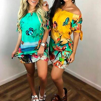 Vestido Feminino Estampa Tropical | Amagis Modas