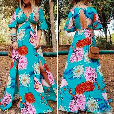 Vestido Longo Estampa Floral | Rosa Star