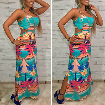 Vestido Longo Estampa Tropical | Mulher Empoderada Boutique