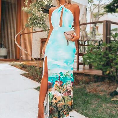 Vestido Longo Fenda Estampa Tropical | Baiuka Modas