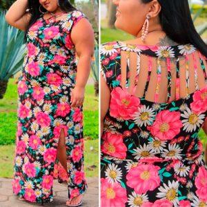 Vestido Plus Size Longo Floral | Lili Elegância Plus