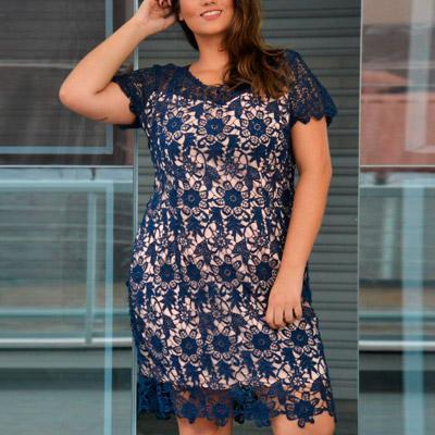 Vestido Plus Size de Renda Azul Marinho | Lili Elegância Plus