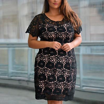 Vestido Plus Size de Renda Preto | Lili Elegância Plus