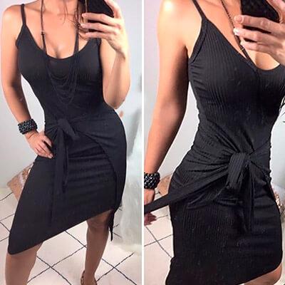 Vestido de Malha Canelado Preto | Baiuka Modas