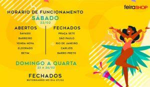Funcionamento da Feira Shop: Carnaval 2020