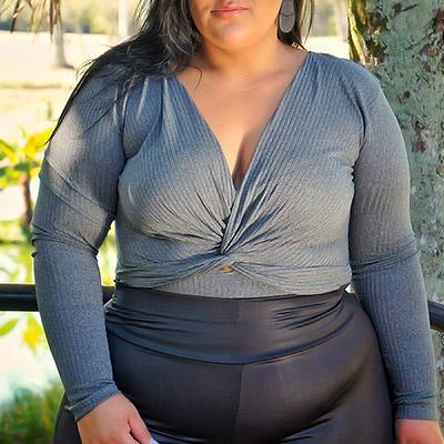 Body Plus Size Canelado | Lili Elegância Plus