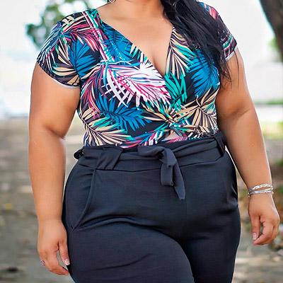 Body Plus Size Decote Transpassado   Lili Elegância Plus