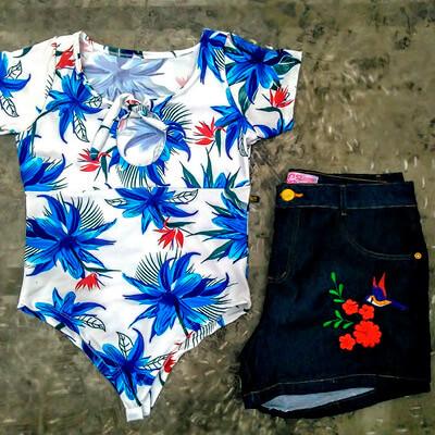 Conjunto Body e Short Jeans Plus Size | Roupa Bonita Plus Size