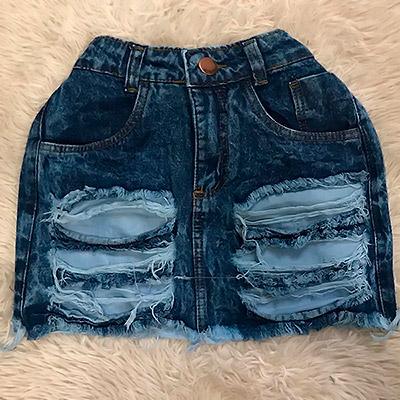 Saia Jeans com Destroyed | Espaço Feminino