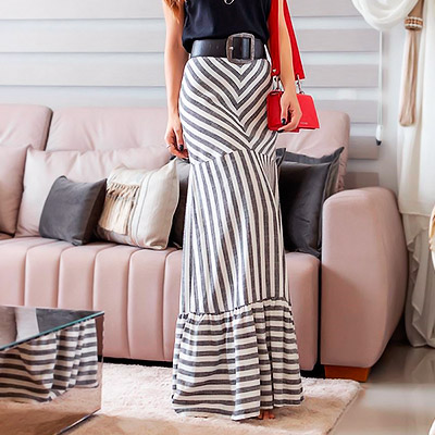 Saia Longa Aquila com Listras | Boutique Morena Chic