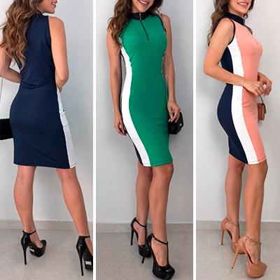 Vestido Canelado Tracy Gola Alta | Boutique Morena Chic