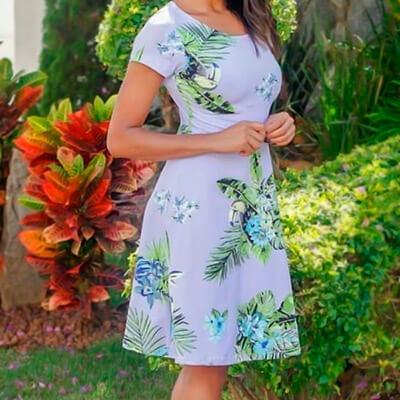 Vestido Estampa Floral Feminino   Poema Modas