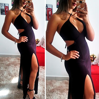 Vestido Longo Canelado Preto | Romelier Store