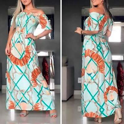 Vestido Longo Modelo Ciganinha | Janna Fashion