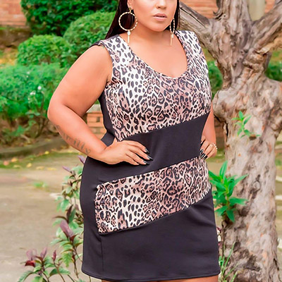 Vestido Plus Size Animal Print | Lili Elegância Plus