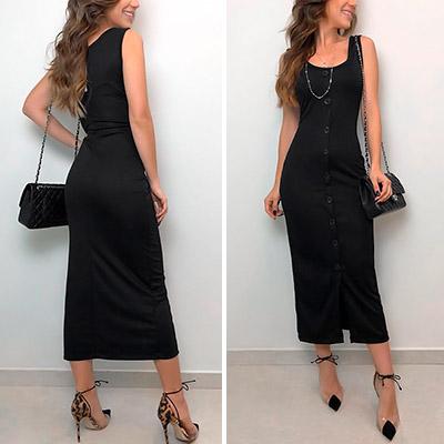 Vestido em Crepe com Botões Frontais | Boutique Morena Chic