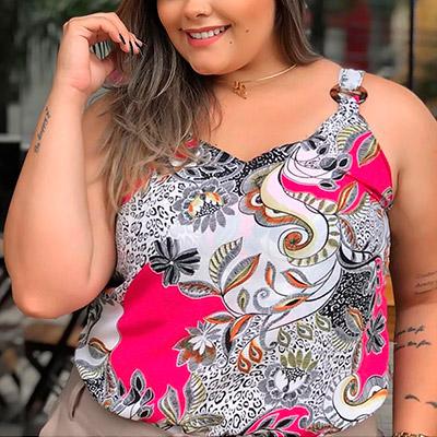 Blusa Estampa Floral Plus Size | Boutique Pimenta Espaço Plus Size