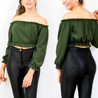 Cropped Ciganinha Verde Militar | Zamigas Moda