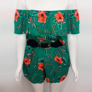 Macaquinho Plus Size Floral   Dema Modas