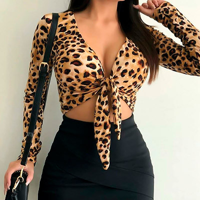 Top Cropped Manga Longa Animal Print | Madame Sá Boutique