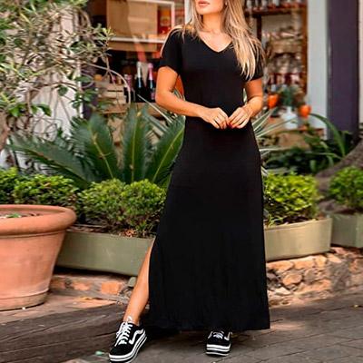 Vestido Longo de Malha Preto | Leka Carvalho