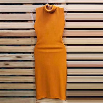 Vestido Canelado Gola Alta | Byanca Diniz