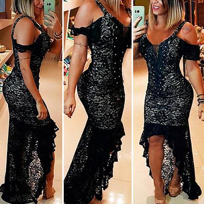 Vestido de Festa em Renda Preto | Rogéria Modas e Acessórios