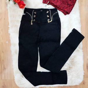 Calça Lycra Bordada Preta | Passarela da Moda
